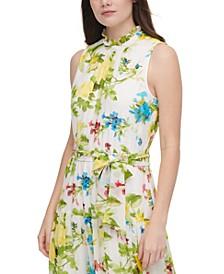 Printed Ruffled High-Neck Sleeveless Maxi Dress