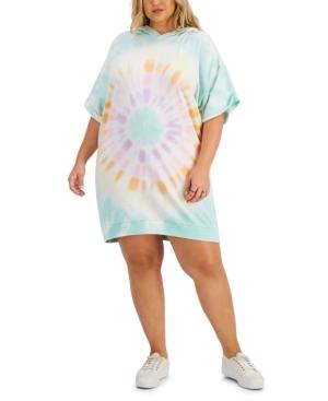 Trendy Plus Size Tie-Dyed Hoodie Dress