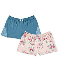 2-Pk. Solid & Printed Knit Sleep Shorts
