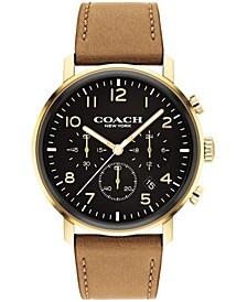 Men's Harrison Camel Leather Strap Watch 42mm