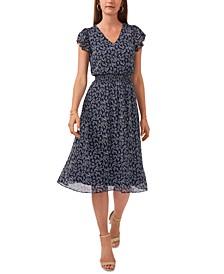 Petite Printed Smocked-Waist Dress
