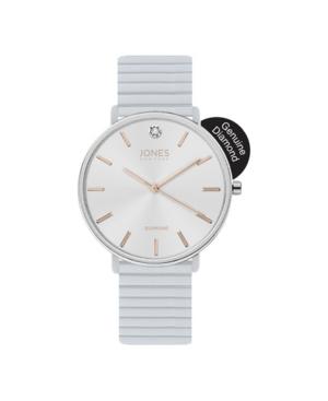 Jones New York Women's Genuine Diamond White Dial and Rubber Strap Analog Watch 38mm