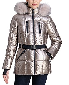 Petite Metallic Belted Hooded Puffer Coat