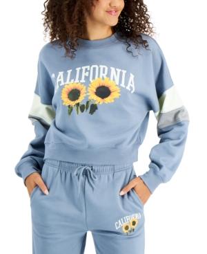Juniors' Graphic Striped-Sleeve Sweatshirt