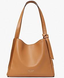 Knott Pebbled and Suede Leather Shoulder Bag