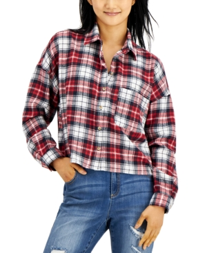 Juniors' Cropped Plaid Button-Up Top