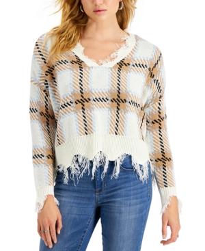 Juniors' Distressed Plaid Sweater