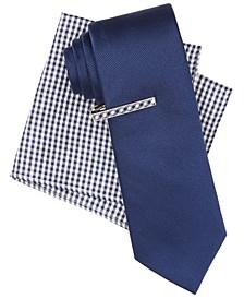 Men's Solid Tie, Gingham Tie Bar & Gingham Pocket Square Set