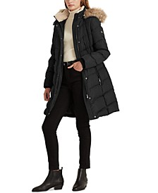 Petite Hooded Down Coat, Created for Macy's