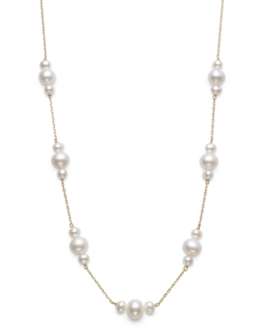"""Cultured Freshwater Pearl (4 & 7mm) Mini-Cluster 18"""" Statement Necklace in 14k Gold"""