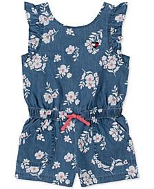 Baby Girls Floral-Print Denim Romper