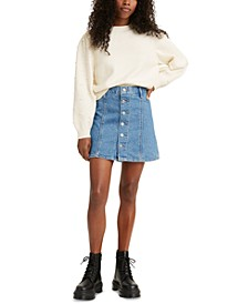 A-Line Button-Front Jean Skirt