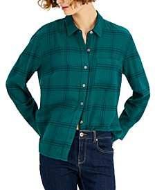 Petite Cotton Plaid Button-Front Shirt, Created for Macy's