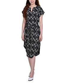 Petite Short Sleeve Belted Split Neck Dress