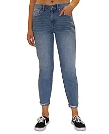 Juniors' Distressed-Cuff Tapered Girlfriend Denim Jeans