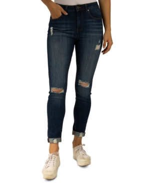 Destructed High-Rise Rolled-Cuff Skinny Jeans