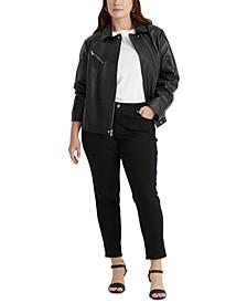 Plus-Size Leather Moto Jacket
