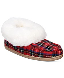 Women's Faux-Fur-Trim Plaid Boot Boxed Slippers, Created for Macy's