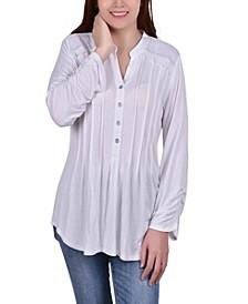 Women's Long Sleeve Pleat Front Top