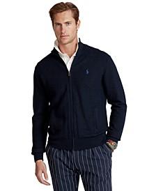 Men's Cotton Mesh Full-Zip Sweater