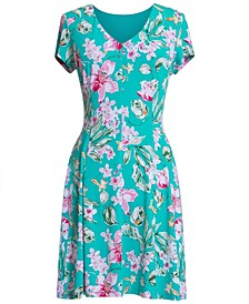 Floral V-Neck Jersey Dress