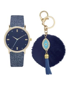 Women's Analog Blue Denim Strap Watch 36mm with Evil Eye Charm Key Chain Cubic Zirconia Gift Set