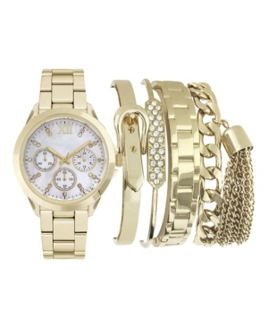 Women's Analog Gold-Toned Strap Watch 36mm with Stackable Bracelets Cubic Zirconia Gift Set