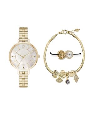 Women's Analog Gold-Toned Strap Watch 36mm with Glam Evil Eye Bracelet Cubic Zirconia Gift Set