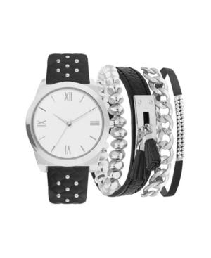 Women's Analog Black Studded Strap Watch 36mm with Silver-Tone Bracelets Set