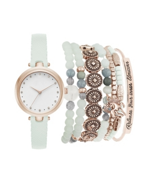 Women's Analog Mint Strap Watch 28mm with Rose Gold-Tone Stackable Bracelets Set