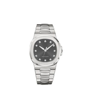 American Exchange Men's Metal Diamond Silver-Tone Stainless Steel Analog Watch
