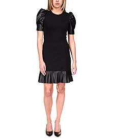 Puff-Sleeve Ruffle-Trim Dress