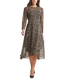 Crossover-Hem Midi Dress