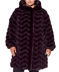 Plus Size Hooded Chevron Faux-Fur Coat, Created for Macy's