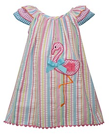 Baby Girls Flamingo Striped Seersucker Sundress Set