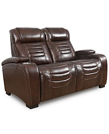 """Raylander 64"""" Leather Power Loveseat, Created for Macy's"""
