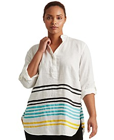 Plus-Size Striped Linen Tunic