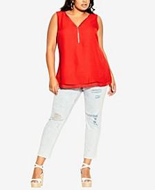 Plus Size Sexy Zip Top