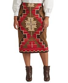 Plus-Size Southwestern-Print Cotton-Linen Skirt
