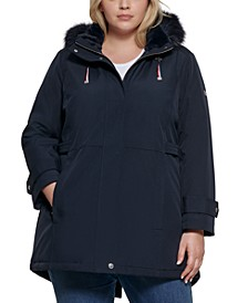 Plus Size Faux-Fur-Trim Hooded Raincoat, Created for Macy's