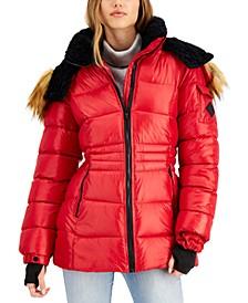 Juniors' Faux-Fur-Trim Hooded Shine Puffer Coat, Created for Macy's