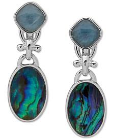 Silver-Tone Blue Stone Drop Clip On Earrings