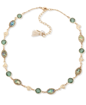 Gold-Tone Crystal & Abalone Collar Necklace