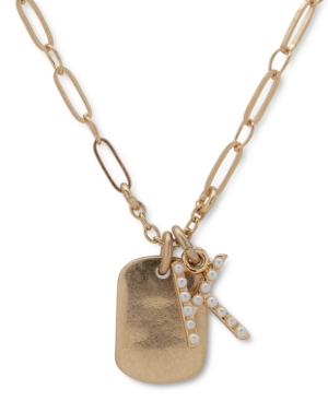 Gold-Tone Initial Dogtag Pendant Necklace