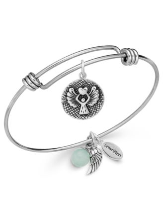 Image of Unwritten Angel Charm and Amazonite (8mm) Bangle Bracelet in Stainless Steel