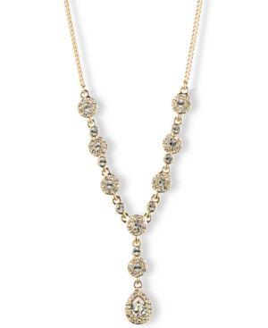 "16"" Crystal Y-Neck Necklace in Gold"