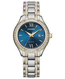 Eco-Drive Women's Silhouette Crystal Two-Tone Stainless Steel Bracelet Watch 30mm