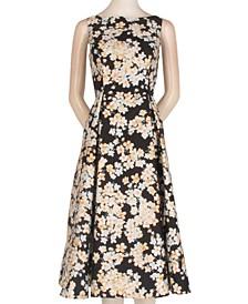 Floral-Print Mikado Fit & Flare Dress