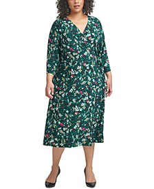 Plus Size Surplice Midi Dress