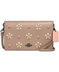 Hayden Foldover Leather Crossbody Clutch With Tea Rose Knot